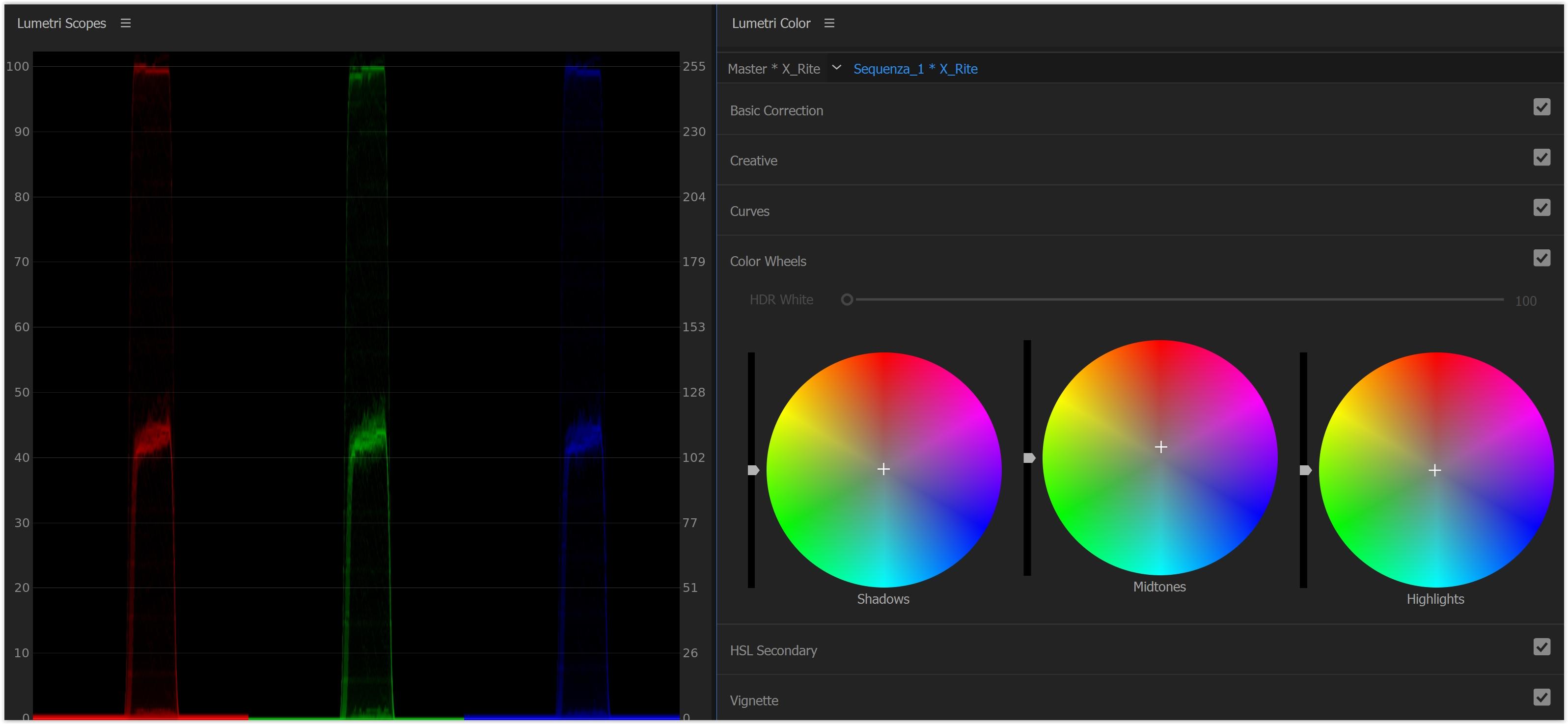 ... e copiamo tutto il Lumetri Color (ctrl cmd+C) d61a47baf037