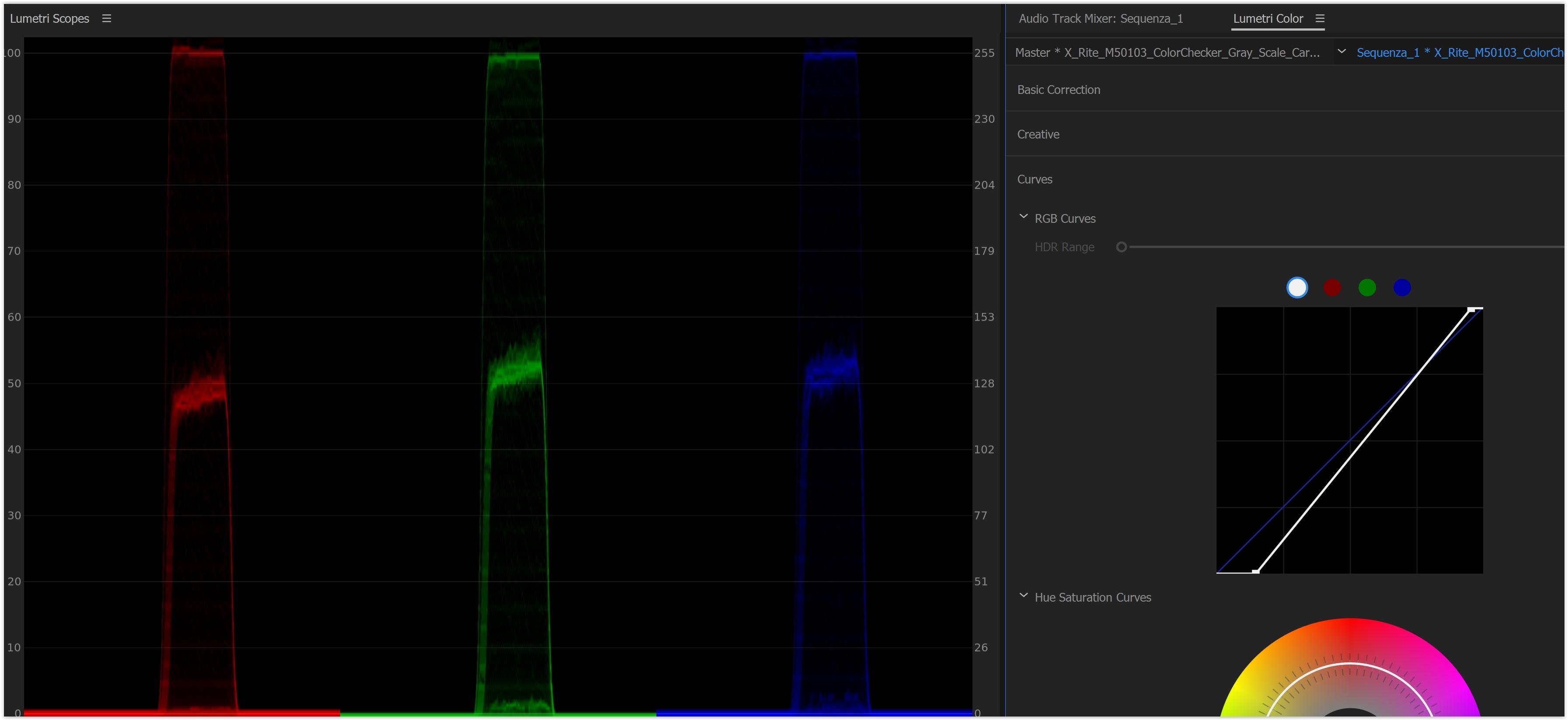 Ora dobbiamo sistemare i grigi. L X-rite ColorChecker Grayscale utilizza un  grigio al 18%. In scala IRE (la scala sulla sinistra dell allineamento RGB)  per ... c0e85f9aaaaf